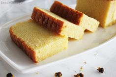 A simple and classic Nonya recipe for a very rich, moist and decadent butter cake with a light hint of vanilla flavour. (Adapted from source: 'The Best of Singapore Cooking' by Mrs Leong Yee Soo). Makes one square cake or 2 loaf cakes Dessert Cake Recipes, Pound Cake Recipes, Pound Cakes, Castella Cake Recipe, Savoury Baking, Square Cakes, Pretty Cakes, Beautiful Cakes, Cake Plates