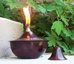 """Brown Embossed Patina MAUI Round Deco Oil Pot (Large 8"""" size)"""