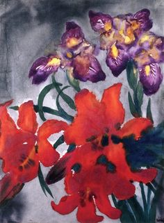 Flowers with Red and Purple Blossoms ~ Emil Nolde
