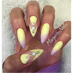 Yellow fading into pink with diamontes