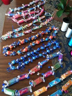 Candy Leis - Saran Wrap and ribbon