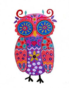 WHIMSICAL OWL PAINTING. Pristine cartera-turkus folk art painting. send me a message to order a similar painting. prisarts@aol.com