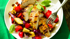 Cut large pieces of veggies and throw them right on the grill along with chicken breasts. Chop the veggies into bite-size chunks after grilling and toss with a summery balsamic vinaigrette.