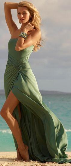 Women's fashion | Ralph Lauren green dress. Love the wrap detail but I'm not digging the slit ...
