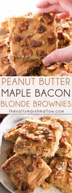Peanut Butter Maple Bacon Blondies – A rich, and soft peanut butter blonde brownie that's studded wi Bacon Recipes, Brownie Recipes, Cupcake Recipes, Snack Recipes, Dessert Recipes, Snacks, Paleo Dessert, Ww Recipes, Fall Recipes
