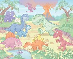 'Baby Dino World' wallpaper for babies – WALLTASTIC