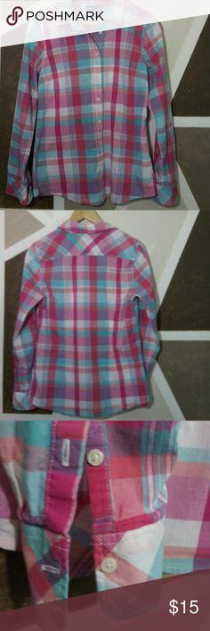 Tommy Hilfiger women's shirt Tommy HIlfiger Women's Shirt. Pink plaid. Good condition. Tommy Hilfiger Tops