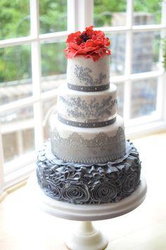 Silver grey and white wedding cake