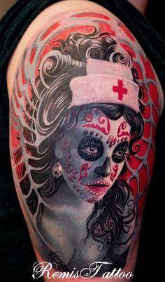 nurse sugar skull tattoo images | Nurse tattoo day of the dead half sleeve remistattoo
