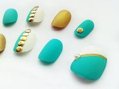 Mint Green Extra Short Fake Nails Handpainted False Nails