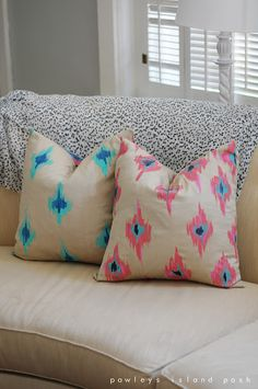 hand painted ikat pillows - hmmmm.. im thinking.. fabric paint, some cheap throw pilows... I could do this myself!