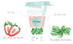Bubble Boba, Tea Restaurant, Asian Recipes, Branding Design, Bubbles, Herbs, Illustration, Food, Strawberry Syrup