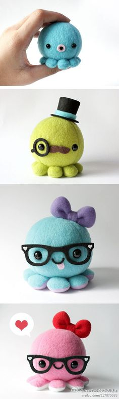 Cute little felt octopuses