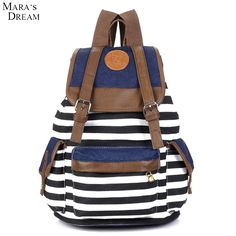 Mara's Dream Hot Sale Cheap Products Women Girl Striped Canvas Backpack Leisure Backpacks For Teenagers Travel Rucksack #Affiliate