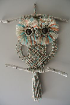 Macrame Owl Variegated Blue / Rust / Beige / Home Deco / Wall hanging by RoseliensMacrame on Etsy Macrame Owl, Rope Art, Deco Wall, Wooden Beads, Paracord, Home Deco, Owls, Rust, Weaving