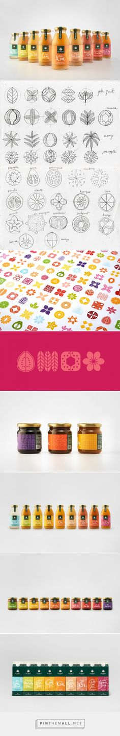 Packaging, branding and graphic design for Le Fruit on Behance by Rice creative Ho Chi Minh City, Vietnam curated by Packaging Diva PD. Rebrand helped tell their story, and jump off of shelves through a vibrant color and icon system derived from the tropical fruits and plants of the Mekong Delta.