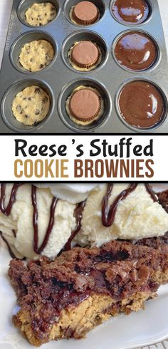 The BEST dessert, ever! Peanut Butter Cup Stuffed Cookie Brownies (Quick & Easy) - Looking for quick and easy chocolate dessert recipes with just 3 ingredients? These peanut butter c - Easy Chocolate Desserts, Brownie Desserts, Köstliche Desserts, Brownie Recipes, Cookie Recipes, Delicious Desserts, Best Brownie Recipe, Dessert Dips, Dessert Party
