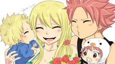 Awww! <3 Look at NaLu family <3 This is just so lovable ^o^ Natsu loves his family so much~