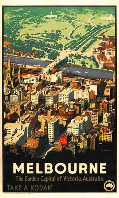 Melbourne 'The Garden Capital of Victoria', Australia, 1936. Published by Victorian Railways, Australia as part of its campaign to encourage local tourism.