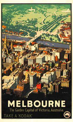 Vintage Poster Love - Melbourne by James Northfield - http://www.australianvintageposters.com.au/shop/melbourne-by-james-northfield/