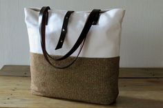 Canvas and Wool Tote Bag Brown White Tote Leather Handles, Large Purse Handbag Shoulder Bag, Diaper bag, Everyday Casual Sports Herringbone