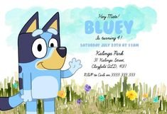 Australian ABC Bluey Bingo Field Flowers Children's   Etsy 4th Birthday Parties, 3rd Birthday, Birthday Cakes, Bingo Party, Abc For Kids, Watercolor Invitations, Kids Cards, Birthday Party Invitations, Archer