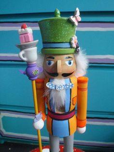 Alice in Wonderland Mad Hatter Nutcracker on Etsy by lotusfairy Nutcracker Sweet, Nutcracker Christmas, Christmas Themes, Nutcracker Crafts, Christmas Crafts, Christmas Decorations, Christmas Ornaments, Dark Christmas, Vintage Christmas