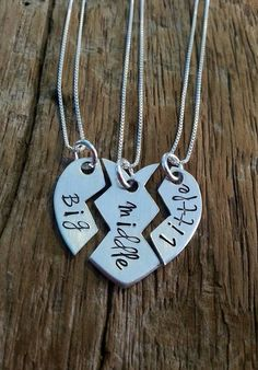 Sister Necklace, Matching Little Sister Middle Sister and Big Sister Necklace…