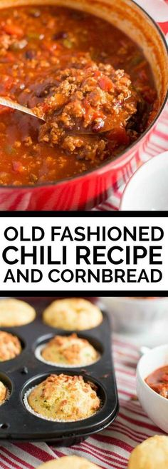 Old Fashioned Chili Recipe and Cornbread via @spaceshipslb