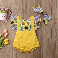 Sunflower Print Ruffle Bodysuit With Headband For Baby Girl – TYChome Ruffle Romper, Baby Girl Romper, Baby Girl Headbands, Cute Baby Girl, Baby Girls, Baby Rompers, Baby Bloomers, Baby Bodysuit, Sunflower Clothing