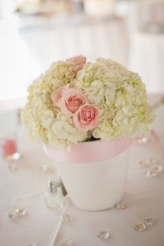 Easy centerpiece: painted white terra cotta pot, pink ribbon, white hydrangeas and pink roses