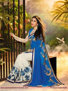 Off White Blue Sari