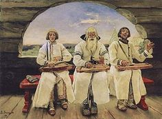 Three kantele (zither) players in Karelia, Finland