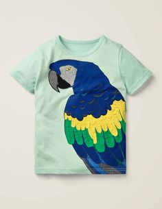 Strukturiertes T-Shirt mit buntem Tier - Seeblau, Papagei Boden Uk, Mini Boden, Fresh Water, Water Blue, Applique, Style Inspiration, Embroidery, Texture, Orange