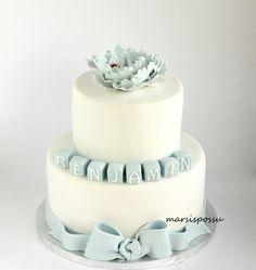 Marsispossu: Pionin koristeltu ristiäiskakku, Christening cake for baby boy