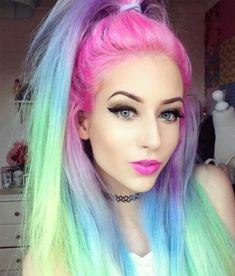 Rainbow pastel hair