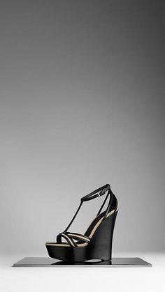 Sandales à plateforme ceinturées en gabardine de coton | Burberry