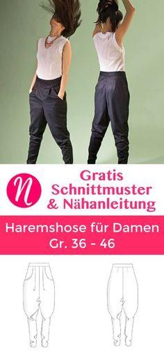 Kostenloses Schnittmuster für eine Haremshose für Damen ❤ Casual-Look: bequem und cool ❤ PDF-Schnittmuster Gr. 36 - 46 ❤ ✂ Nähtalente.de ✂ Free sewing pattern for slouchy woman trouser in size 36 - 46.
