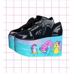 Hand painted my little sea pony inspired platform flatform shoes made... (3.975 CZK) ❤ liked on Polyvore featuring shoes, pastel shoes, 80's fashion shoes, eighties shoes, goth platform shoes and 1980s shoes