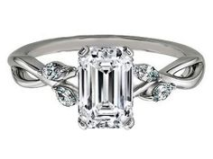 Emerald Diamond Engagement Ring Floral Marquise Vine in 14K White Gold - ES1102ECWG