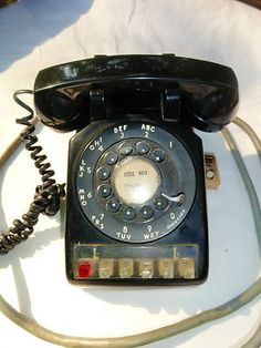 VTG MID Century Modern BLACK ROTARY Multi Line WESTERN ELECTRIC Retro Desk Phone