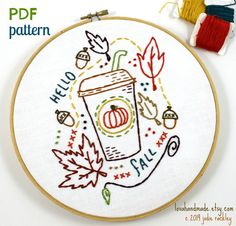 Pumpkin Spiced Latte Fall Autumn Harvest Hand Embroidery PDF Pattern