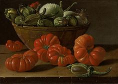 Luis Meléndez (Naples 1716 - 1780 Madrid), Still life with tomatoes, a bowl of aubergines and onions Still Life 2, Be Still, Bountiful Baskets, Spanish Art, Spanish Painters, Dutch Painters, A Level Art, Painting Still Life, Old Master