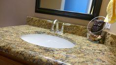 New Venetian Gold granite bathroom sink Custom Countertops, Granite Countertops, Vanity Countertop, Granite Bathroom, Granite Kitchen, New Venetian Gold Granite, Giallo Ornamental Granite, Antique White Cabinets