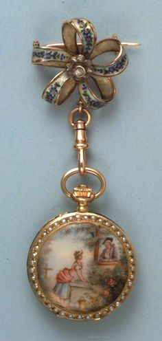 All good faeries carried beautiful watches to make sure they were in by midnight.this one is a gold enameled pocket watch. Antique Watches, Antique Clocks, Or Antique, Vintage Watches, Antique Jewelry, Vintage Jewelry, Home Decoracion, Miniature Portraits, Pocket Watch Antique