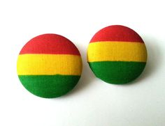 Rasta red yellow green extra large fabric button by ButtonUpp, $9.00