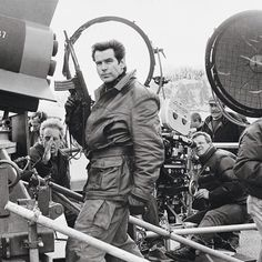 Pierce Brosnan (James Bond) filming the pre-titles sequence of TOMORROW NEVER DIES (1997) in the French Pyrenees.