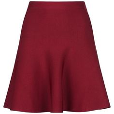 BCBGMAXAZRIA Skater Skirt (4,070 MXN) ❤ liked on Polyvore featuring skirts, stretch skirts, red camisole, burgundy skirt, skater skirt and red flared skirt