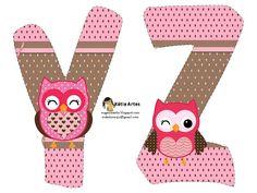 Alfabeto de búhos en tonos rosa.   Oh my Alfabetos!