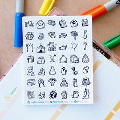 42 Wedding Planning Mini Icons -  Black & White Hand Drawn Sticker Planner by FasyShop on Etsy